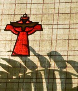 Cross, Holy Spirit Dove, shadow branch