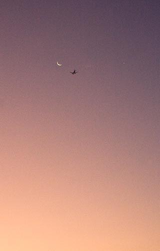 Dawn, plane, moon