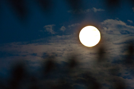 Supermoon - brilliant in front of clouds